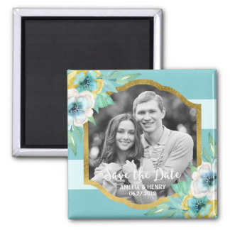 Mint Stripes Faux Gold Floral Save the Date Photo Magnet