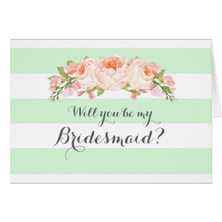 Mint Stripes Floral Bridesmaid Invitation