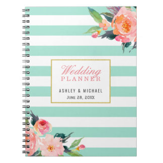 Mint Stripes Floral Wedding Planner Guestbook Spiral Notebooks