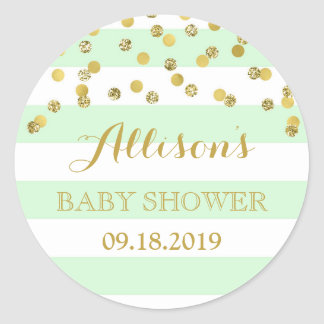 Mint Stripes Gold Confetti Baby Shower Favor Tag