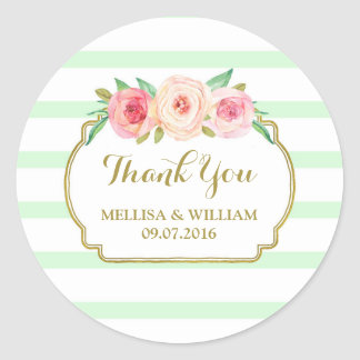Mint Stripes Gold Pink Floral Wedding Favor Tags Round Sticker