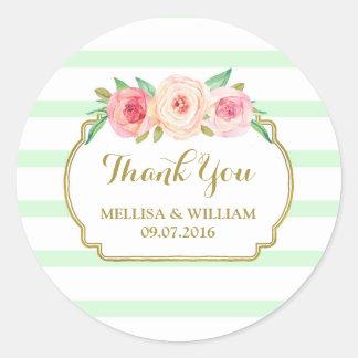 Mint Stripes Gold Pink Floral Wedding Favor Tags Round Sticker