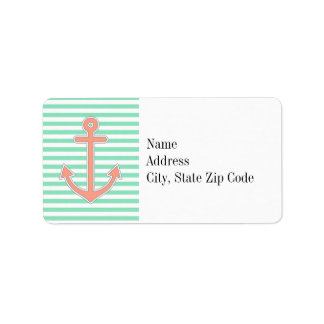 Mint Stripes Peach Anchor Nautical Label