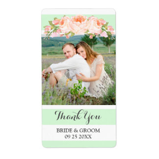 Mint Stripes Peach Floral Photo Wedding Label