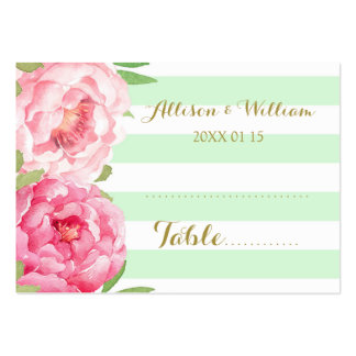 Mint Stripes Pink Floral Table Place Setting Cards Pack Of Chubby Business Cards