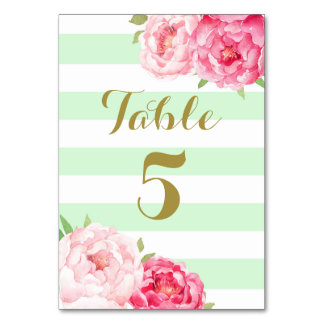 Mint Stripes Pink Floral Wedding Table Number Card