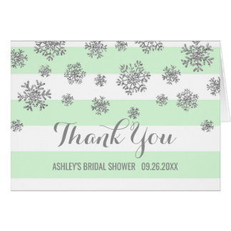 Mint Stripes Silver Snowflake Bridal Shower Thanks Card