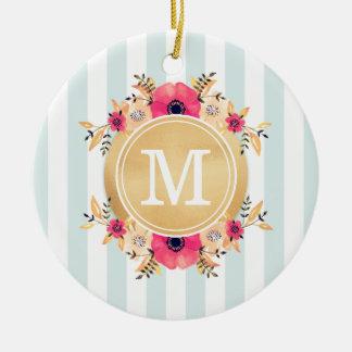 Mint Stripes Watercolor Flowers Faux Gold Monogram Christmas Ornament