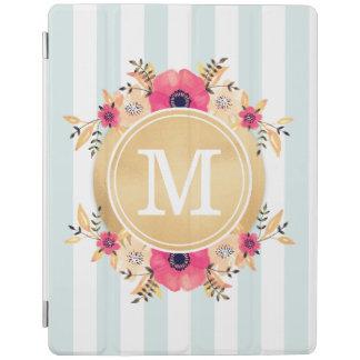 Mint Stripes Watercolor Flowers Faux Gold Monogram iPad Cover