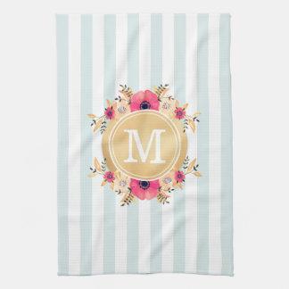 Mint Stripes Watercolor Flowers Faux Gold Monogram Tea Towel