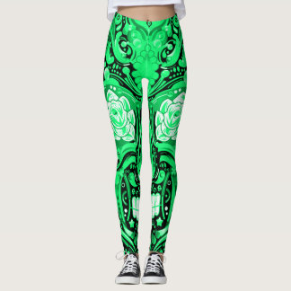 Mint Sugar Skull Day of the Dead Leggings