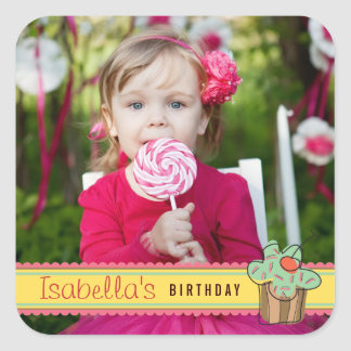 Mint Sweet Cherry Cupcake Photo Birthday Sticker