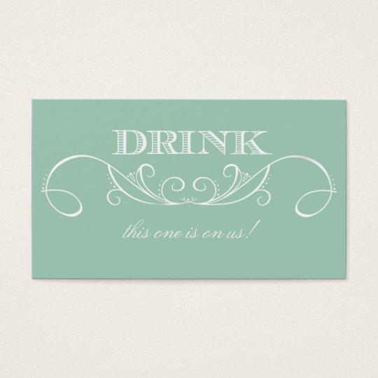 Mint Swirl Wedding Drink Ticket