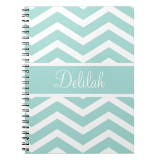 Mint Teal Chevron Custom Name Notebooks
