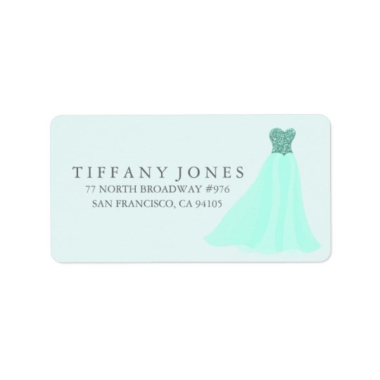 Mint Teal Glitter Dress Gown Address Label