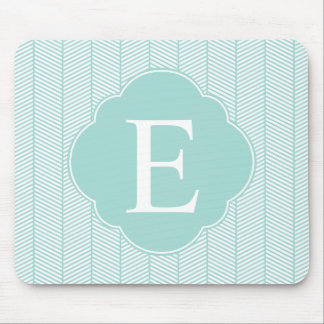 Mint Teal Herringbone Monogram Mouse Mat