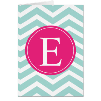 Mint Teal Pink Chevron Monogram Card