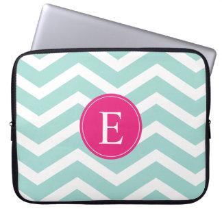 Mint Teal Pink Chevron Monogram Laptop Sleeve