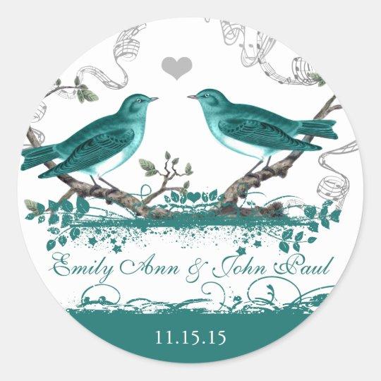 Mint Teal Romantic Rustic Love Bird Wedding Classic
