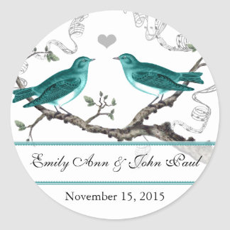 Mint Teal Romantic Rustic Love Bird Wedding Round Sticker