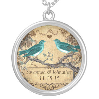 Mint Teal Romantic Rustic Lovebird Wedding Silver Plated Necklace