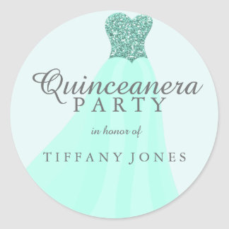 Mint Teal Sparkling Glitter Gown Quinceanera Party Classic Round Sticker