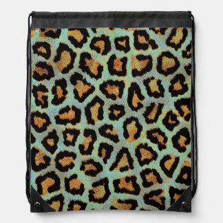 Mint Tease me teal  Leopard print drawstring bag
