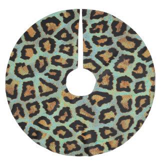 Mint Tease me teal  Leopard print style tree skirt