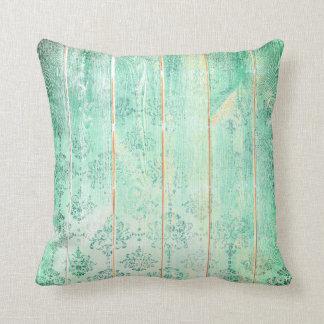 Mint Tiffany  Damask Metallic Wood Cottage Home Cushion