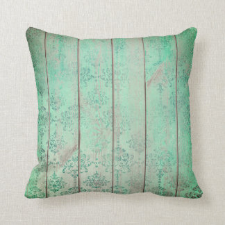 Mint Tiffany Teal Green Damask Wood Cottage Home Cushion