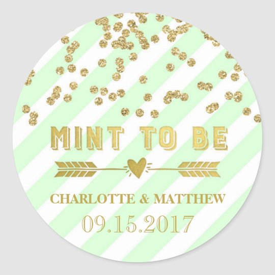 Mint to Be Gold Confetti Wedding Favour Tags