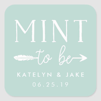 Mint to Be | Personalized Wedding Favor Mints Square Sticker
