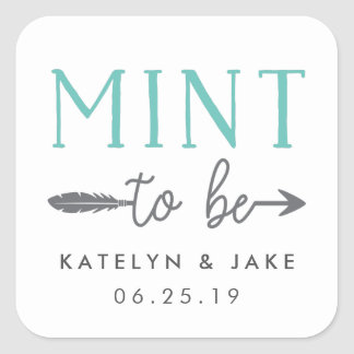 Mint to Be | Personalized Wedding Favor Square Sticker