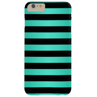 Mint Turquoise and Black Stripes Pattern Barely There iPhone 6 Plus Case