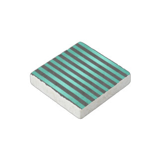 Mint Turquoise and Black Stripes Pattern Stone Magnet