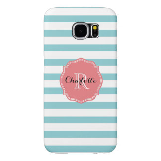 Mint Turquoise Stripes Personalized Samsung Galaxy S6 Cases
