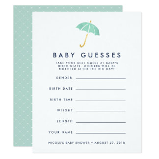 Mint Umbrella Baby Shower Guessing Game Card