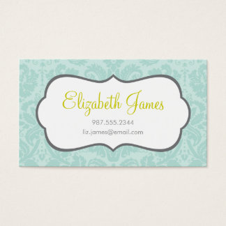 Mint Vintage Damask Business Card