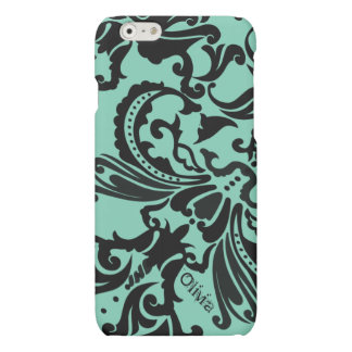 Mint Vintage Damask-change teal to any color iPhone 6 Plus Case