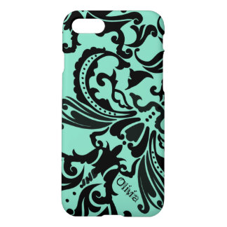 Mint Vintage Damask-change teal to any color iPhone 7 Case