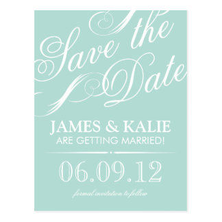 Mint Vintage Script Save the Date Postcards