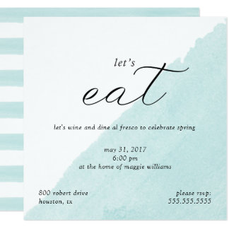 Mint Watercolor Dinner Party Invitation