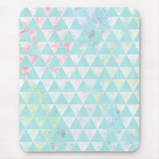 Mint Watercolor Girly Painted Triangles Pattern Mouse Mat
