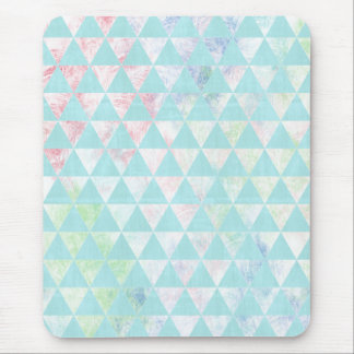 Mint Watercolor Girly Painted Triangles Pattern Mouse Pad