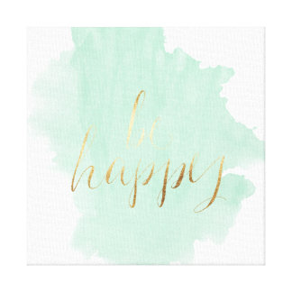 Mint Watercolor Gold Be Happy Canvas Print