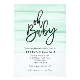 Mint Watercolor Gradient Oh Baby Shower Invitation