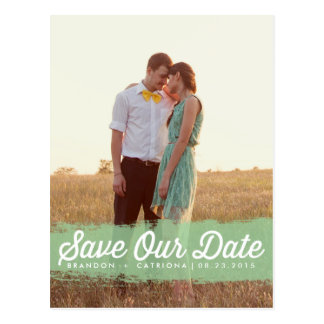 MINT WATERCOLOR SPLASH | SAVE THE DATE POSTCARD
