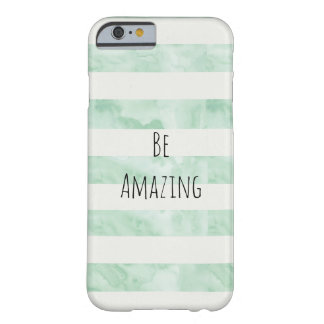 Mint Watercolor Stripes Amazing Barely There iPhone 6 Case