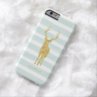 Mint Watercolor Stripes and Gold Deer Barely There iPhone 6 Case