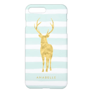 Mint Watercolor Stripes and Gold Deer iPhone 8 Plus/7 Plus Case
